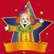 Clown with banner — Stock Photo