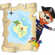 Pirate with map — Stock Photo