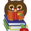 Owl with books — Stock Photo