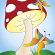 Mushroom and butterflies — Stock Photo