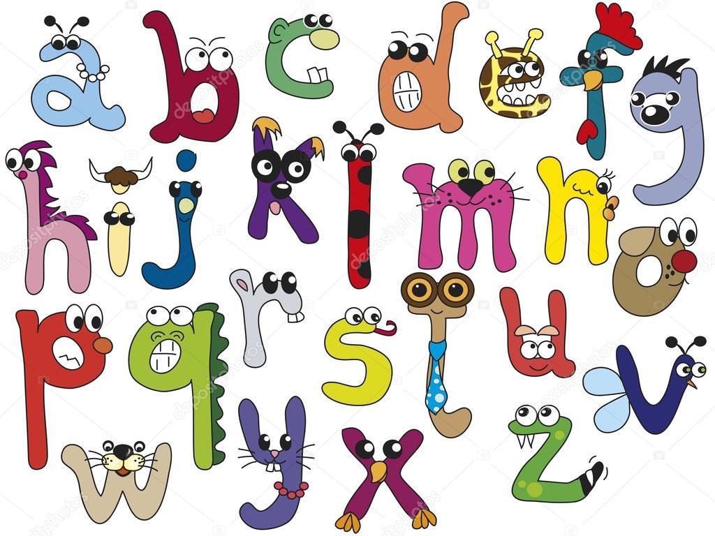 乐趣和滑稽字母表使用小写字母– 图库图片