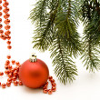 Christmas ball with bead chain — Stock Photo
