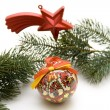 Christmas ball with star — Stock Photo