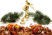 Campanas de Navidad con rama de abeto — Foto de Stock