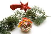 Christmas ball with star — Stock Photo