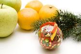 Christmas ball with fruit — Stock Photo