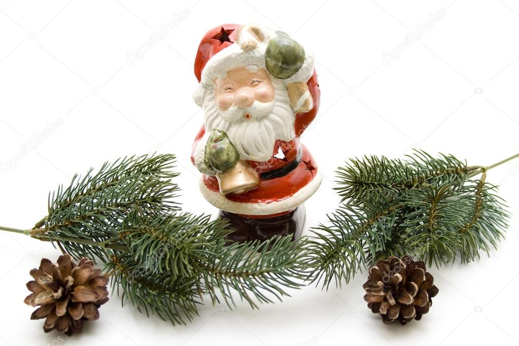 Christmas man with pine plug and fir branch — Stock Photo #12549561