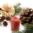 Wax candle with pine plug — Stock Photo