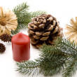 Wax candle with pine plug — Stock Photo #12872201