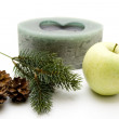 Fir branch and apple — Stock Photo #12873218