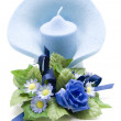 Blue Flower with blue Candle — Stock Photo