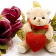 Love heart with teddy bear — Stock Photo