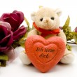 Stock Photo: Love heart with teddy bear