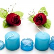Glass stones with candles — Stock Photo