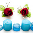 Glass stones with candles - Lizenzfreies Foto