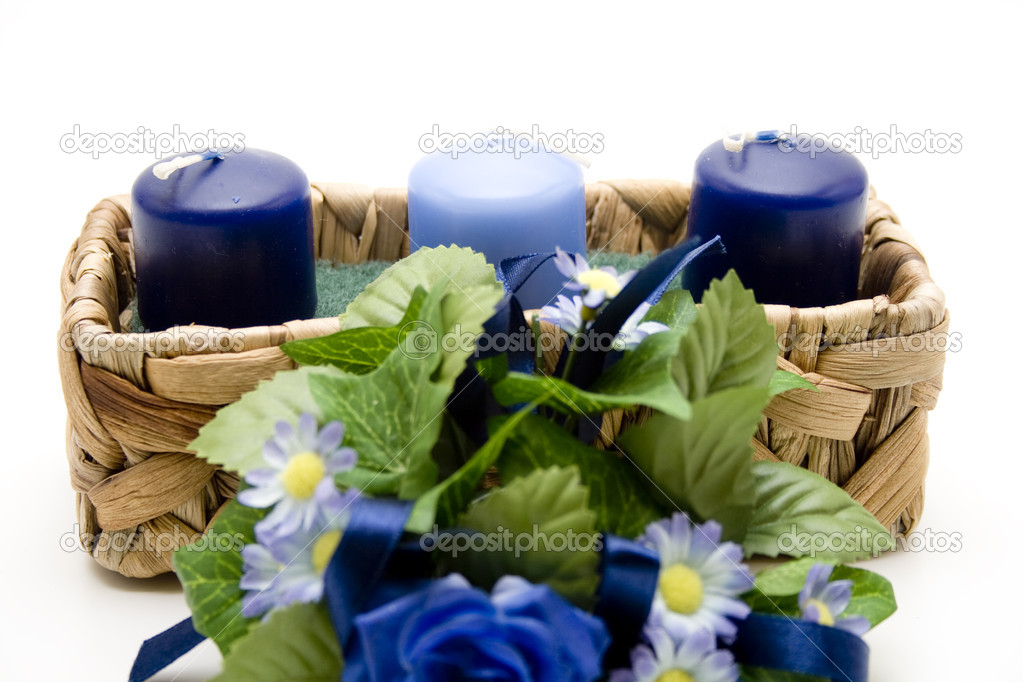 Blue  Candles with flowers  — Stock Photo #14848273