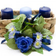 Blue  Candles with flowers - Stockfoto