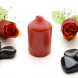 Wax candle with stones — Stock Photo #14888103