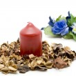 Wax candle with potpourri — Stock Photo