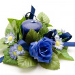 Blue flowers with blue Candle - Stock Photo