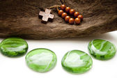 Green stones with Chaplet — Stock Photo