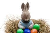 Easter bunnies woman — Stock Photo