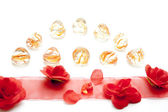 Silk tape with roses — Stock Photo