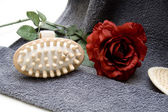 Massage brush with red rose — Stock Photo