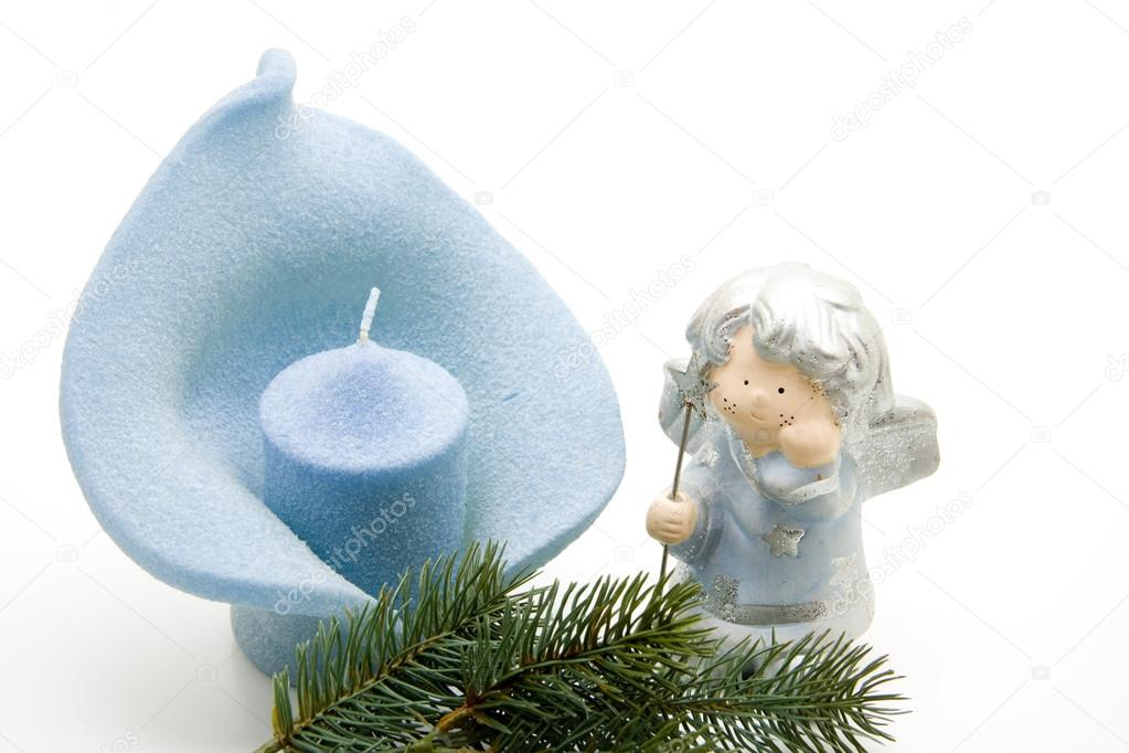 Leaf candle with ceramic angel  — Stock Photo #15610285