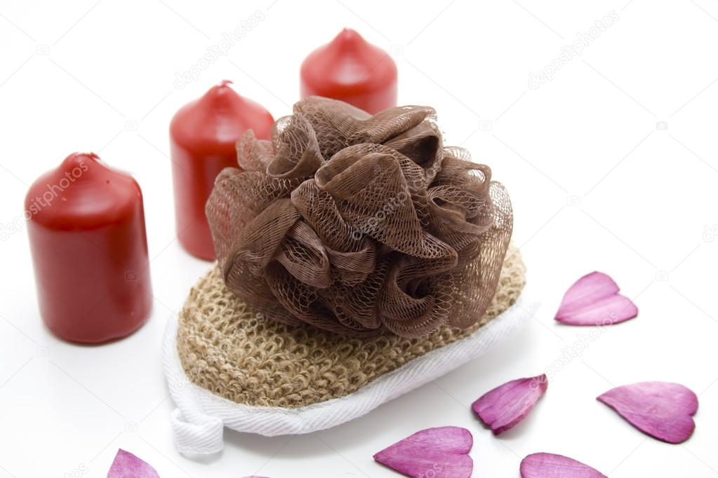 Net sponge with candles  — Stock Photo #15619065