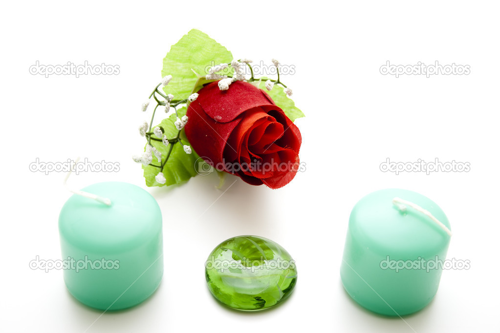 Candle of perfume with glass stone — Stock Photo #15689529