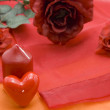 Candles with rose — Stock Photo