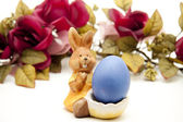 Coloured Easter egg with Easter bunny — Stock Photo