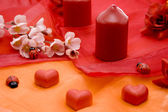 Marzipan heart with candles — Stock Photo