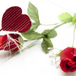 Bunch of roses with heart — Stockfoto