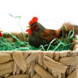 Cock and hen in the basket — Stock Photo #15775375