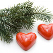 Heart candles with fir branch — Stock Photo