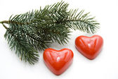 Heart candles with fir branch — Stockfoto