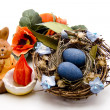 Stock Photo: Bird nest with Easter bunny