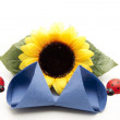 Table napkin with sunflower — Stock Photo #17172769