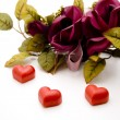 Marzipan heart with roses — Stock Photo