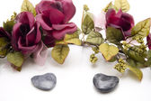 Heart stones with garland — Stock Photo