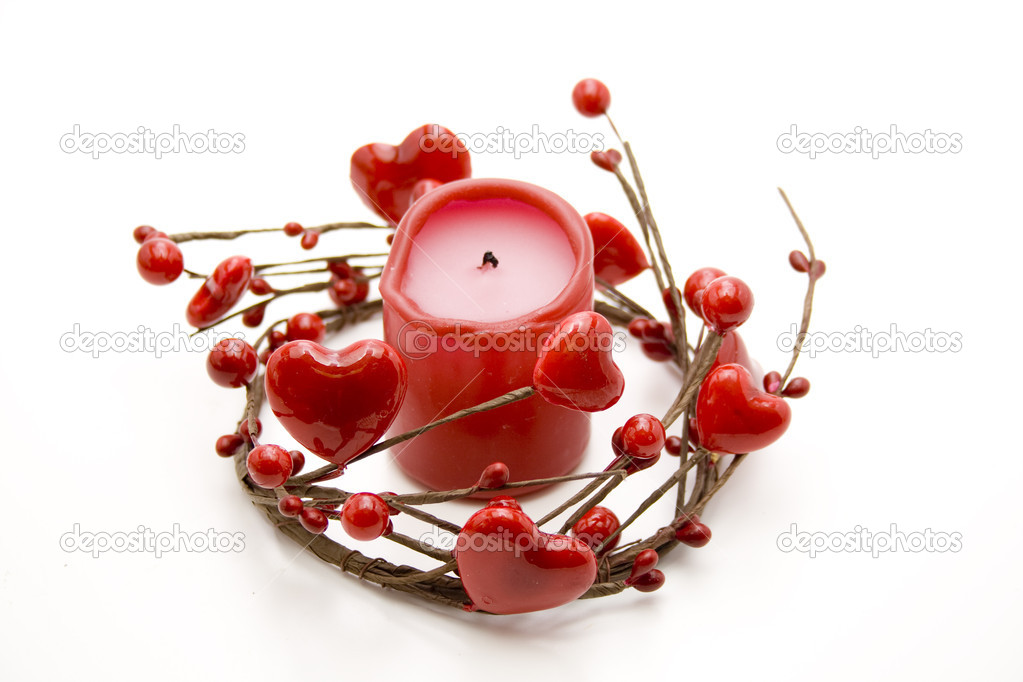 Red candle in the heart wreath — Stock Photo #17612755