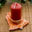 Candle in the candle holder with ivy - Stockfoto