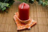 Candle in the candle holder with ivy — Stock Photo
