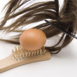 Hairbrush with hairpiece — Stock Photo