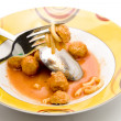 Minced meat flesh small ball in sauce - Stock Photo