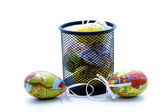 Easter eggs with metal container — Foto Stock