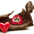 Heart candle with blossom — Stock Photo