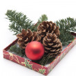 Christmas ball with pine plug — Stock Photo #19460135